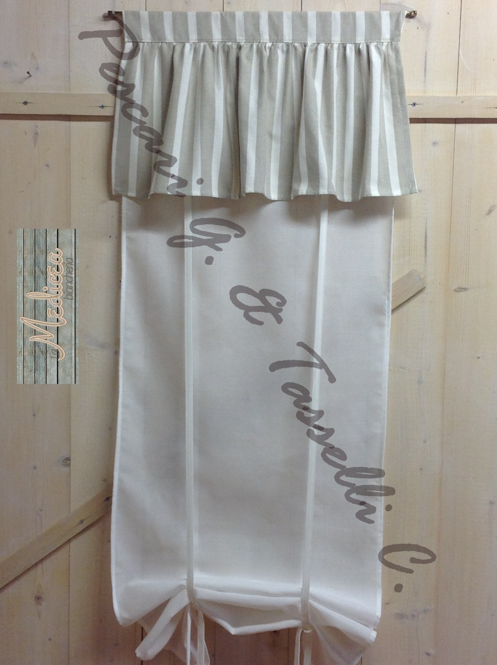 Tenda cucina shabby chic sandy made in tuscany 50x150 - Tende shabby cucina ...