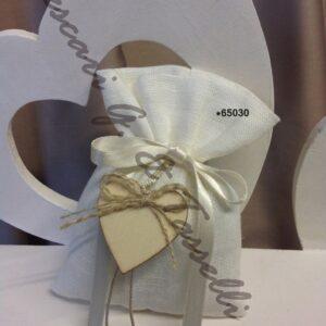 Bomboniere Lino Panna WEDDING Cuore Legno 65030