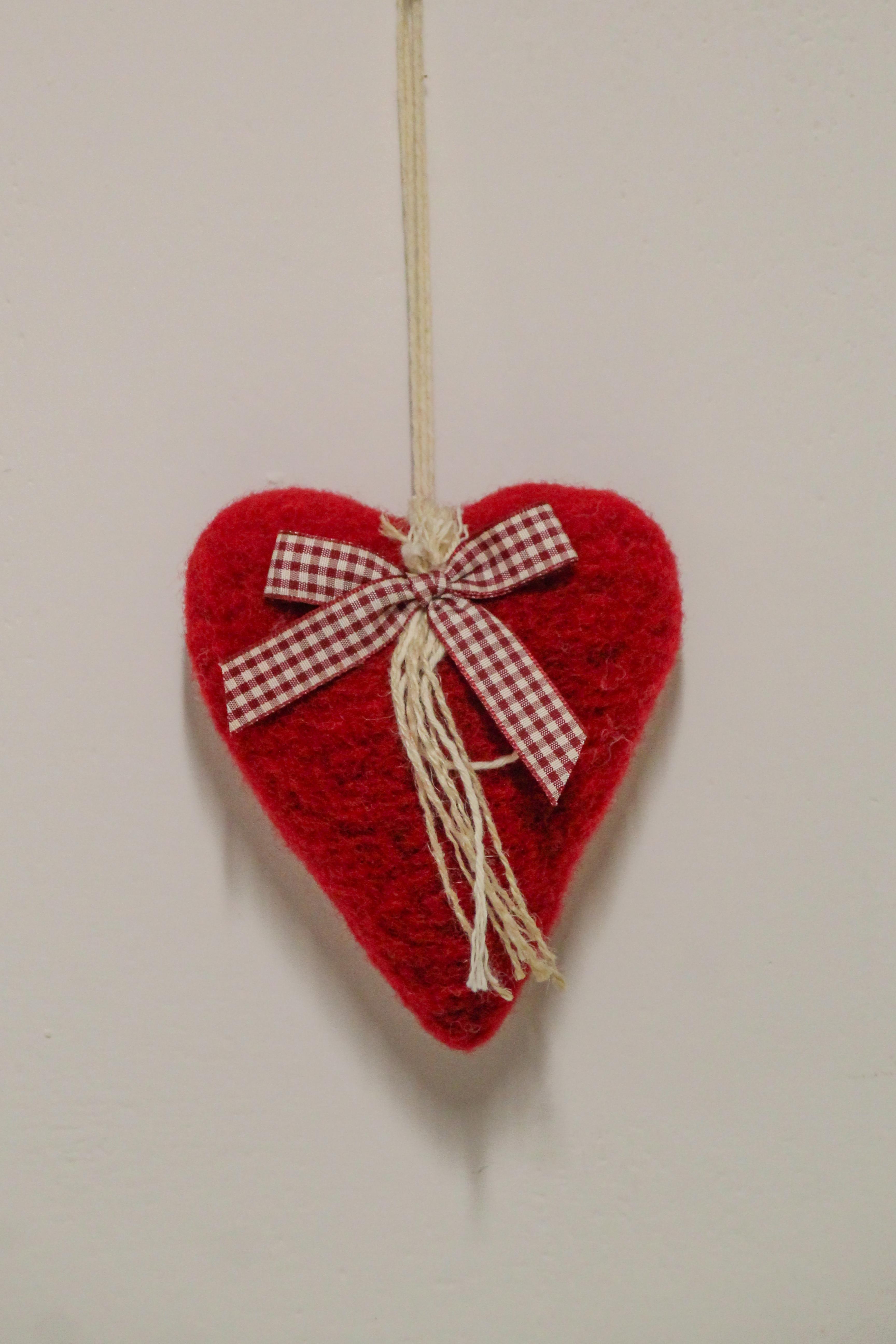 Lana Cotta Cuore Rosso Natale