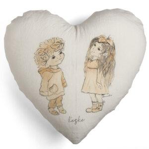 Elfi lino delavè cuscino cuore