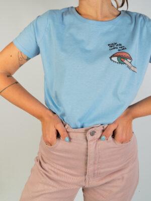 """T-Shirt Donna Sky Blue """"Occhio"""""""