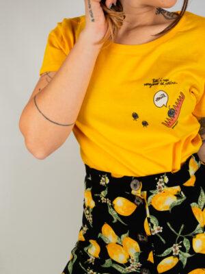 """T-Shirt Gialla Donna """"Nodi"""""""