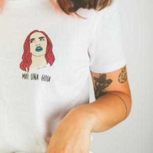 "T-Shirt Donna ""Mai una gioia"" Bianca"