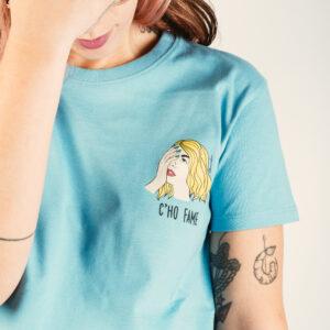 """T-Shirt Donna """"C'ho fame"""" Cloudy color"""