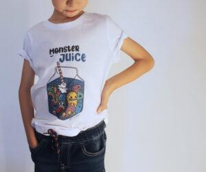 """T-Shirt Bambini """"Moster Juice"""" Bianca"""